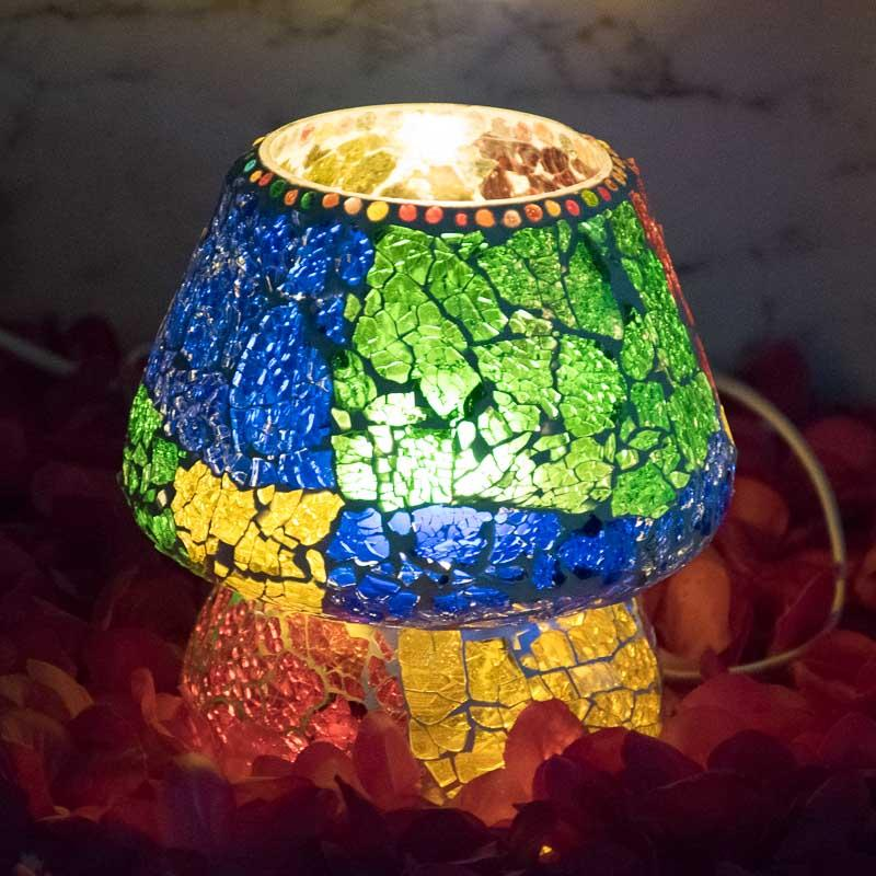 Multi-Hued Crackled Glass Table Lamp