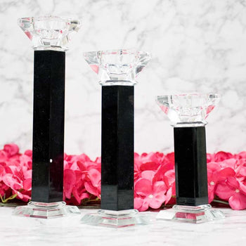 Handcrafted Black White Glass Designer Pillar Candle Holder