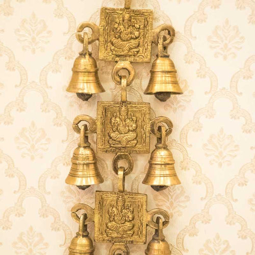Antique Brass Door/Wall Hanging 7 Bells with Engraved Ganesh