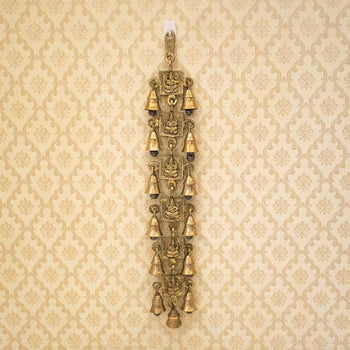 Antique Brass Door/Wall Hanging 13 Bells with Engraved Ganesh (Golden Color)