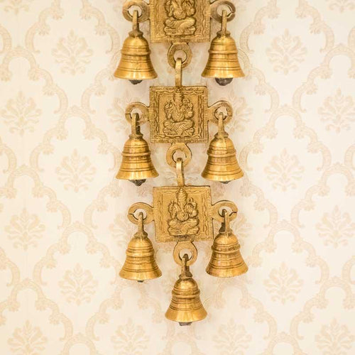 Ganesha Engraved Brass Door/Wall Hanging 11 Bells