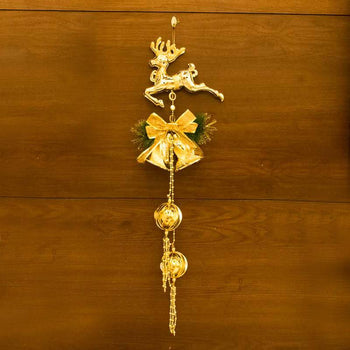 Golden Christmas Reindeer Bell Ornamental Wall/Door Hanging