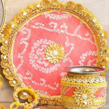 Peach & Gold Pooja Thali
