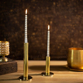 Alaia Brass Candle Stands (Set Of 2) Holder