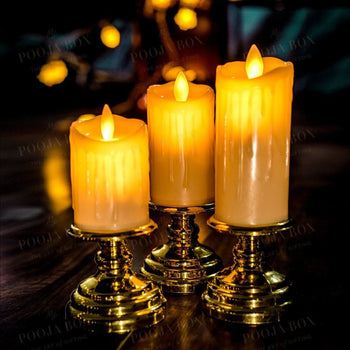 Alluring Led Candle Set Of 3 Holder