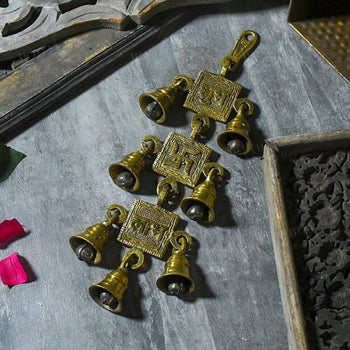 Antique Brass 7 Bells With Shubh Labh Swastik Figurine Bell