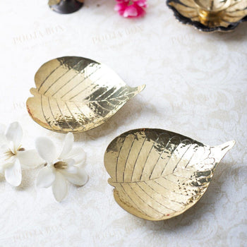 Antique Brass Prayer Leaf (Set Of 2)