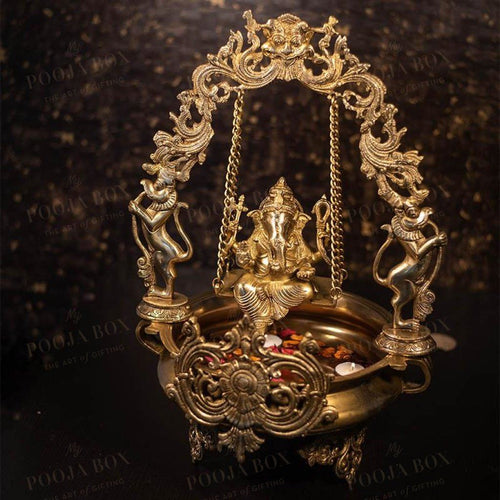 Antique Brass Swing Ganesha Urli