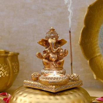 Atharv Ganesha T-Light & Incense Holder