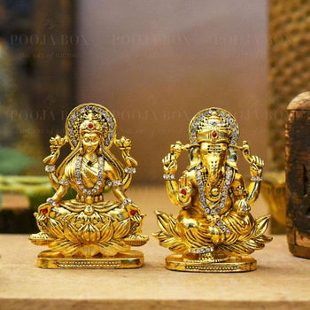 Auspicious Golden Laxmi Ganesh Murti On Lotus Idols