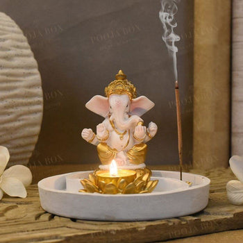 Beautiful Ganpati Incense & T-Light Holder
