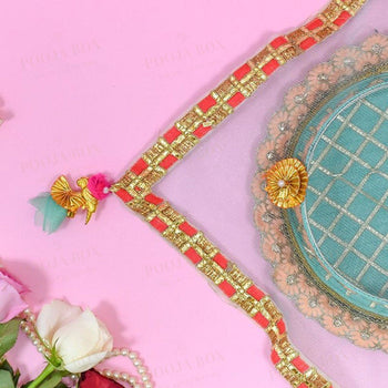 Bedazzle Blue Thali Cover Karwa Chauth