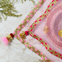 Bedazzled Baby Pink Thali Cover Karwa Chauth