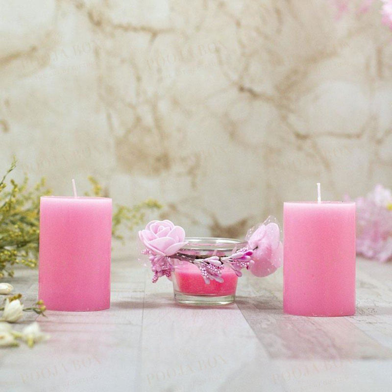 Beguiling Pink Scented Pillar Candle Set Of 3