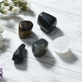 Black Magic Protection Crystal Healing Tumble Stone Set Reiki