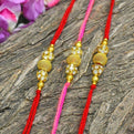 Chic Handcrafted Stone Beaded Rakhi Set Of 3