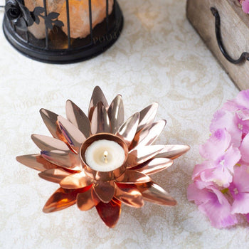Copper Finished Lotus T-Light Holder T Light