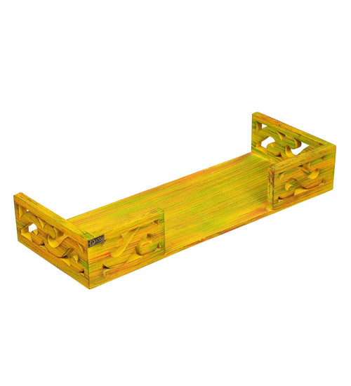Yellow Wooden Pooja Mandir Shelf