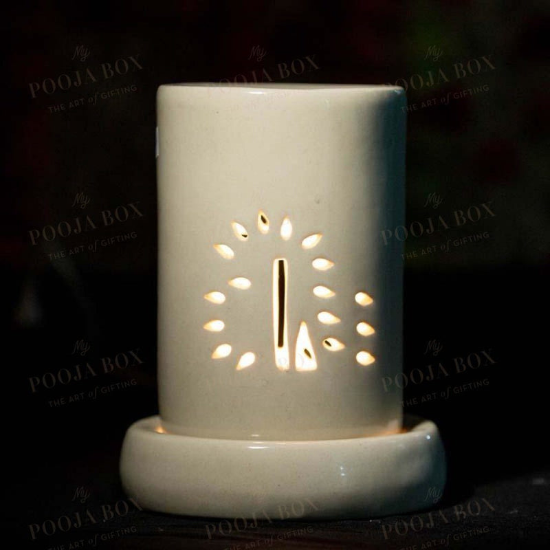 Elegant Off-White Handmade Ceramic Cylindrical Aroma Diffuser Diffusor