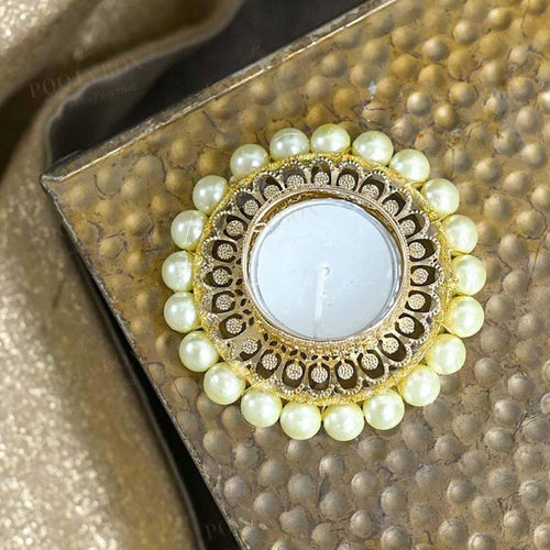 Elegant Pearl Studded Golden T-Light Candle Holder