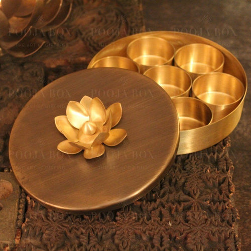 Elite Handcrafted Brass Pooja Lotus Samagridaan Items