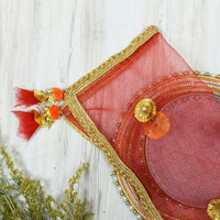 Exquisite Red Thali Cover Karwa Chauth