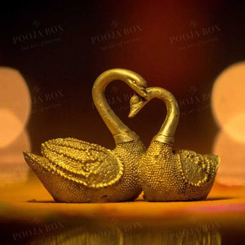 Feng Shui Pair Of Golden Swan For Good Fortune