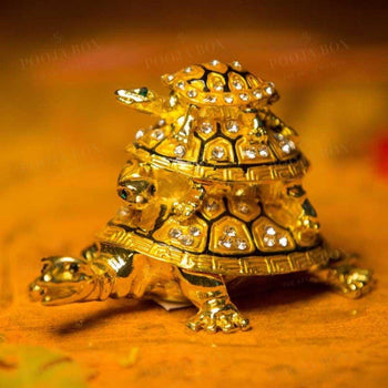 Feng Shui Three-Tiered Tortoise Statue For Good Luck