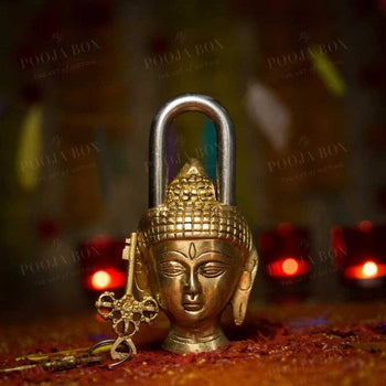 Handcrafted Brass Buddha Lock Home Decor