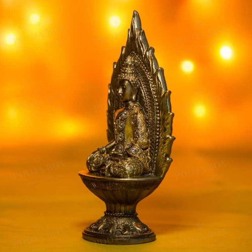 Handcrafted Golden Buddha In Earth Touching Position Home Decor
