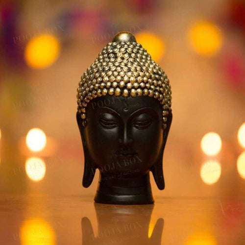 Handmade Black Buddha Head Showpiece With Golden Crown Idols