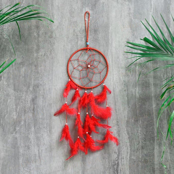 Handmade Red Feathers Dreamcatcher Wall Hanging