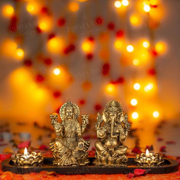 Laxmi Ganesha Candle Holder Idols