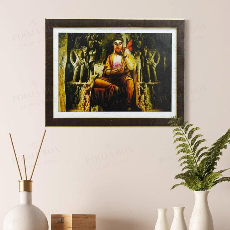 Lord Buddha Lotus In Hand Painting For Decor Framed Paintings