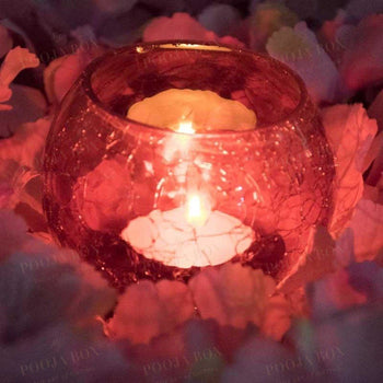 Red Crackled Matki Candle Holder