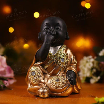 Sitting Baby Monk Figurine In Laughing Pose Feng Shui