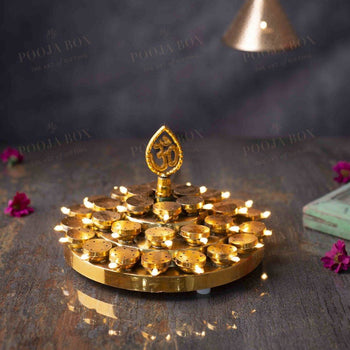 Traditional Om Layered Led Deep Thali Diya