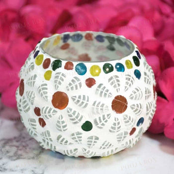 White Ceramic Mosaic Work Tealight Candle Holder