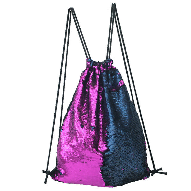 Two-tone Sequin Drawstring Bag