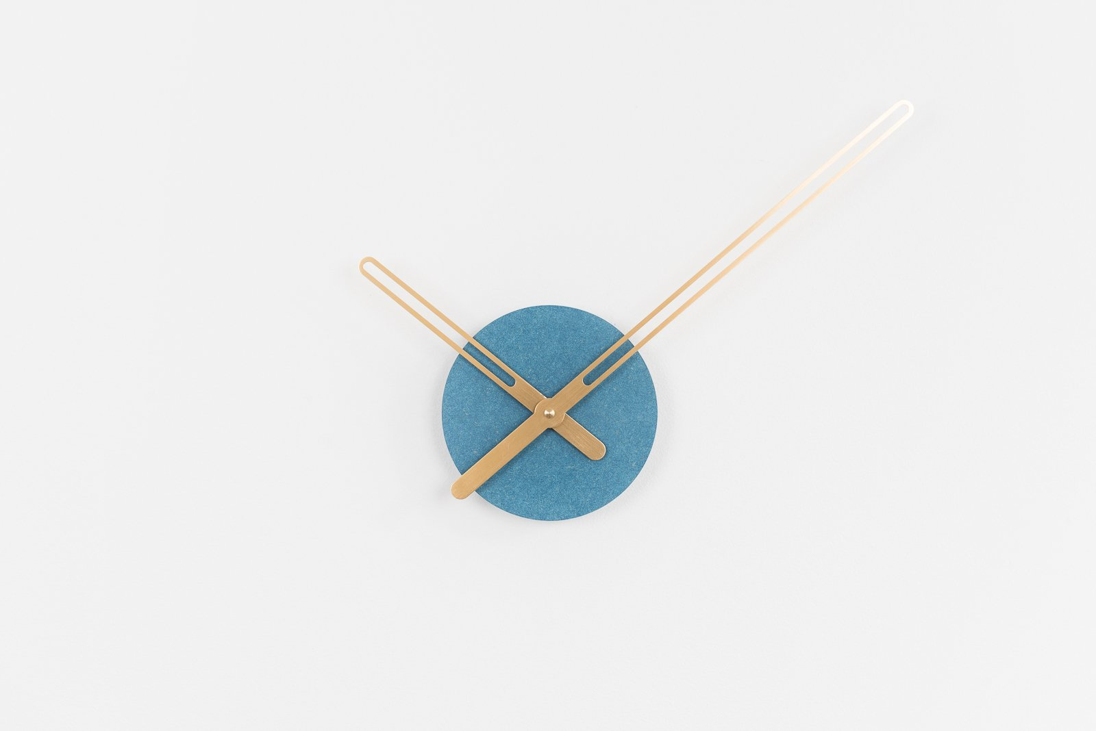 Sweep Wall Clock, The Blue Ocher Series with Brass Clock Hands, Minimalist Scandinavian Design Wall Decor Clock by Christopher Nordahl Konings