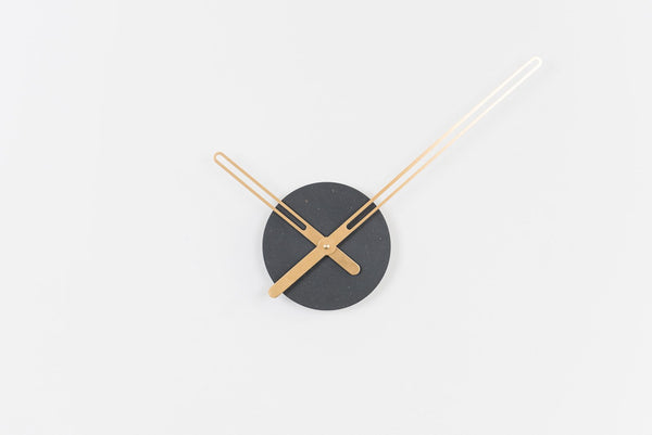Sweep Wall Clock, The Black Ocher Series with Brass Clock Hands, Minimalist Scandinavian Design Wall Decor Clock by Christopher Nordahl Konings