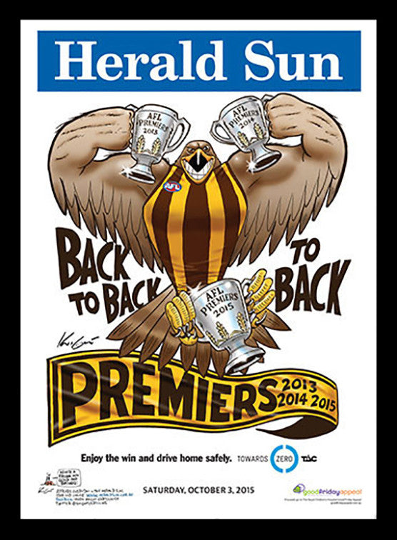 2015 Afl Hawks Premiership Poster Classic Picture Framers
