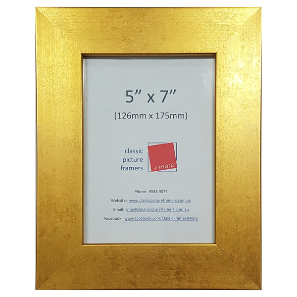Flat Gold Style Picture Frame - Gold 40mm
