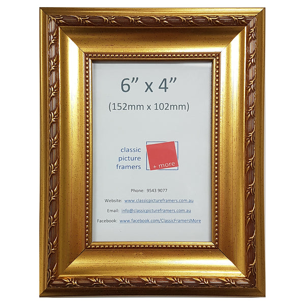 Bright Floral Gold Style Picture Frame - Gold 40mm