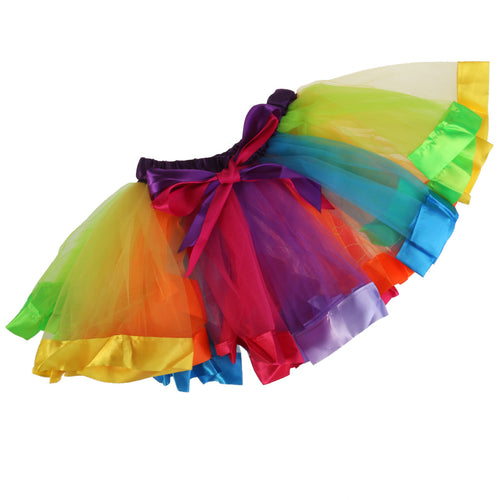 Little Girls Layered Rainbow Ribbon Tutu Skirt Dress Ballet Tiered