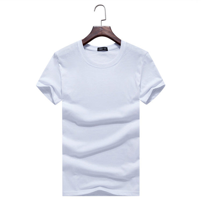 Large size men's short-sleeved T-shirt Summer new solid color Slim casual o-neck T-shirt 2017 simple fashion men clothing trends