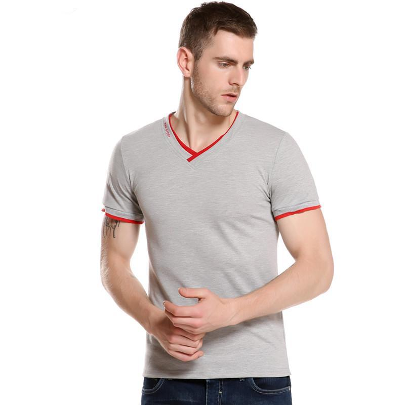 Summer Fashion Brand Clothing Men's Short-sleeved T-shirts V-neck Solid Color T-shirt Casual Slim Fit T Shirt Men