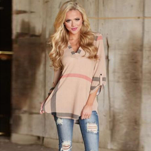 Womens Trendy Fashion Casual Top V-Neck Three-Quarter Sleeve