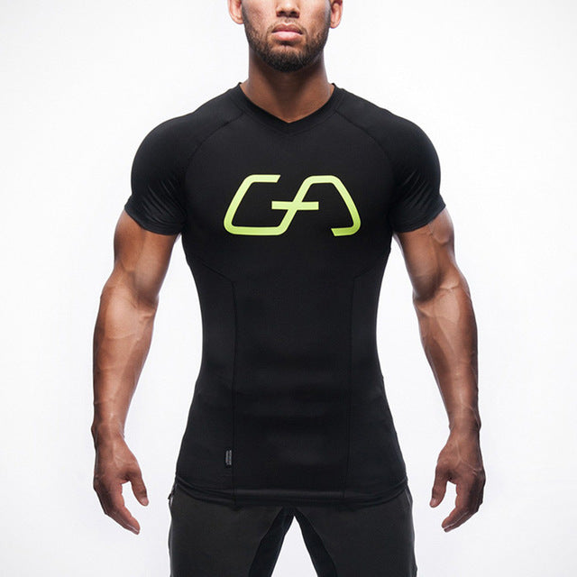 New T-shirt men Tights Fitness Quick Dry Casual Stretch Top Tee Shirt Fitness Mma Plus Size Hot Sale