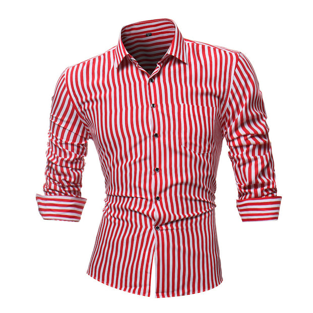 Fashion Striped Mens Shirts Classic Long Sleeve Casual Shirt For Men Slim Fit Male Social Business Dress Shirt